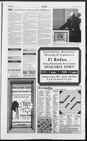 Daily Trojan, Vol. 153, No. 52, November 05, 2004