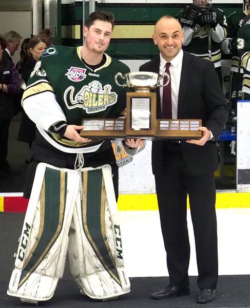 2017 -2018 AJHL Top Goalie , Riley Morris