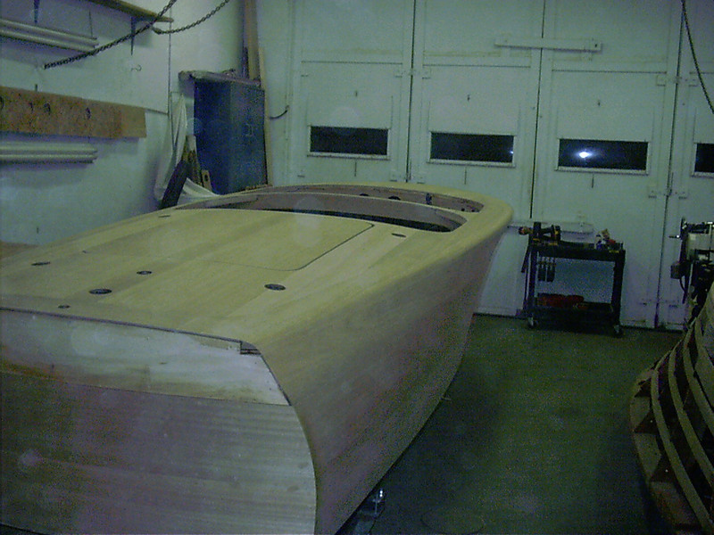 Starboard rear cover board shaped and sanded.