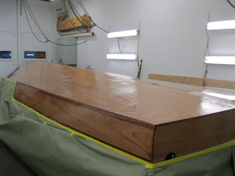 Rear starboard view of bottom with three coats of epoxy applied.