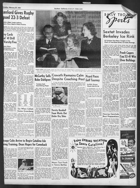 Daily Trojan, Vol. 32, No. 90, February 27, 1941