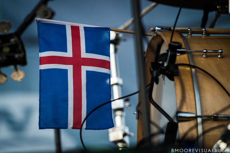 Arnar Rósenkranz Hilmarsson of Of Monsters And Men proudly displays the Icelandic flag while performing on December 1, 2012 during 97X Next Big Thing at Vinoy Park in St. Petersburg, Florida