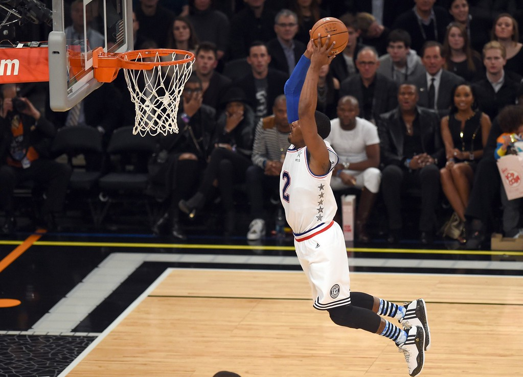 . East NBA All Star John Wall of the Washington Wizards goes to the basket during the 64th NBA All-Star Game at Madison Square Garden in New York  February 15, 2015.    AFP PHOTO /  TIMOTHY  A. CLARYTIMOTHY A. CLARY/AFP/Getty Images