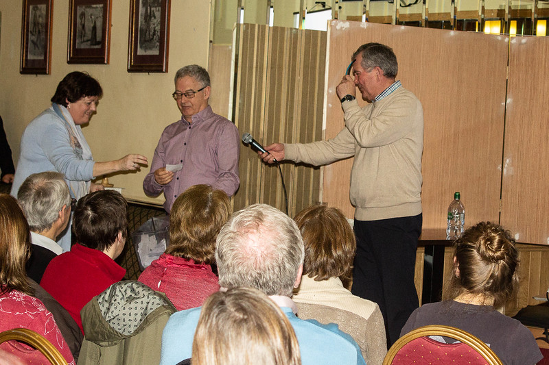 Noreen Hooton with John Leahy and Noel Buckley at the raffle price draw
