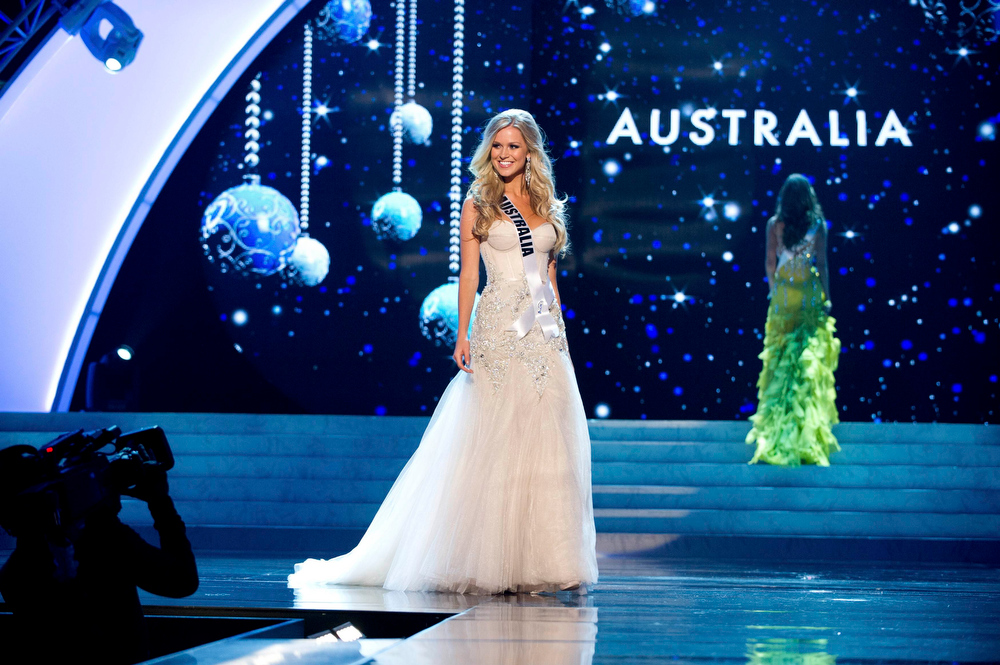 Description of . Miss Australia 2012 Renae Ayris competes in an evening gown of her choice during the Evening Gown Competition of the 2012 Miss Universe Presentation Show in Las Vegas, Nevada, December 13, 2012. The Miss Universe 2012 pageant will be held on December 19 at the Planet Hollywood Resort and Casino in Las Vegas. REUTERS/Darren Decker/Miss Universe Organization L.P/Handout