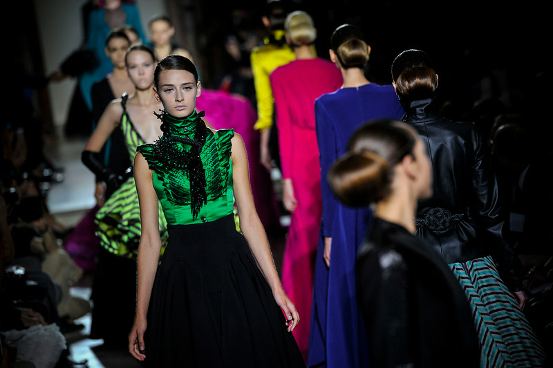 . Models wear creations by French fashion designer Julien Fournie, as part of his Fall Winter 2014-15 Haute Couture collection, presented in Paris, Tuesday, July 8, 2014. (AP Photo/ Zacharie Scheurer)