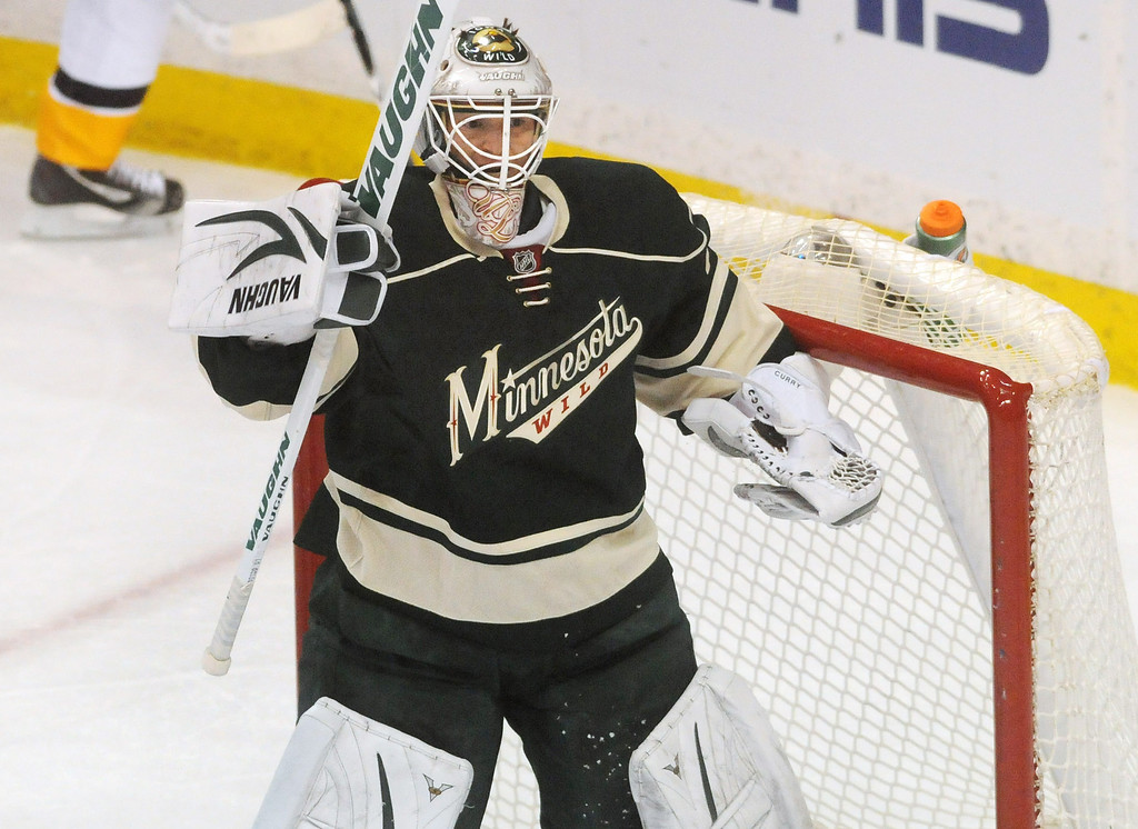 . The Wild\'s John Curry played in goal the third period as the Minnesota Wild lost 7-3 in their last game of the season.  (Pioneer Press: Scott Takushi)