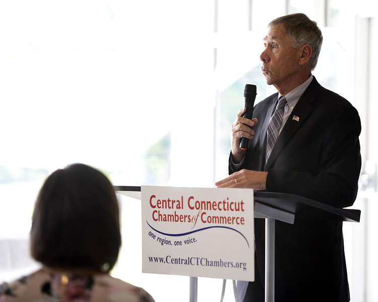 6/12/2019 Mike Orazzi   Staff Plymouth Mayor David Merchant during Wednesday morning's state of the city & towns breakfast hosted by the Central Connecticut Chambers of Commerce at Chippanee Golf Club in Bristol.