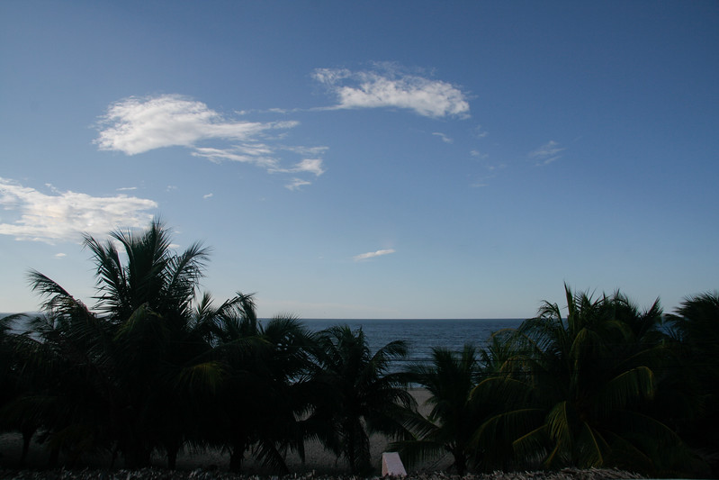View of the ocean from our hotel balcony in Tela.