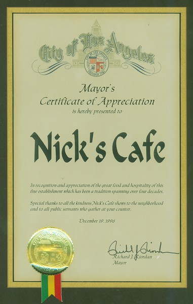 1996, Mayor's Certificate of Appreciation