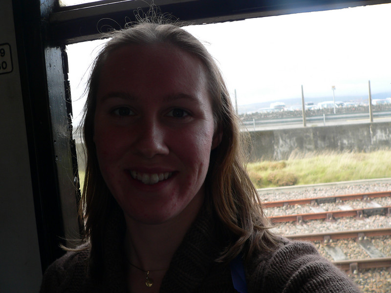 Looking out from my seat at the Atlantic side of Mallaig (nothing there) from the train in station.