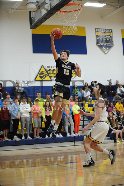Knoch #15 Jared Schrecengost goes for the basket against Freeport during a game at Freeport Gym on Tuesday January 14, 2020 (Jason Swanson photo)