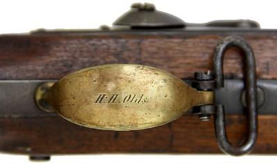 1572 (H.H. Olds on trigger guard, 47 on nosecap front, inside trigger guard, steel patchbox, trigger plate left side bar)