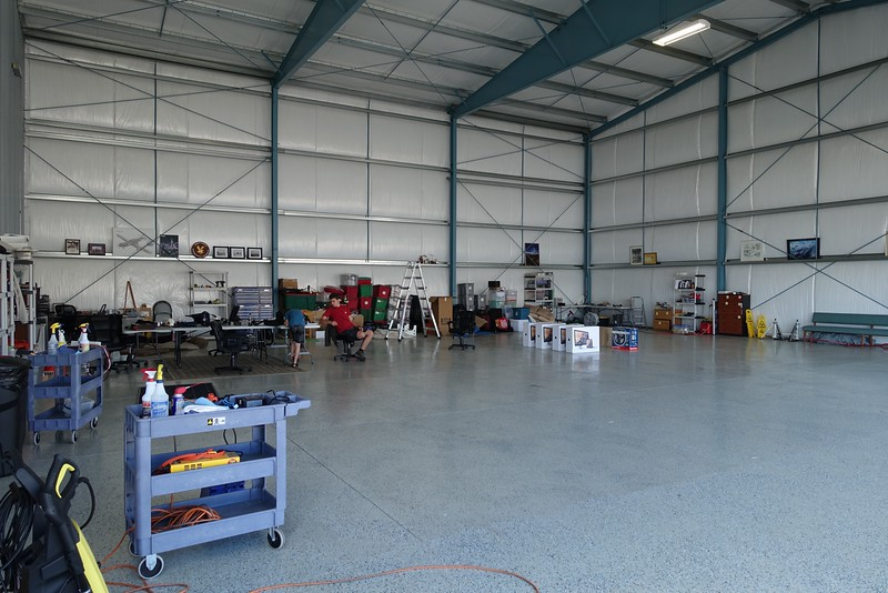 The hangar is quite empty with only one plane these days and the Ximango out and assembled.  New plane arrives about Labor Day.