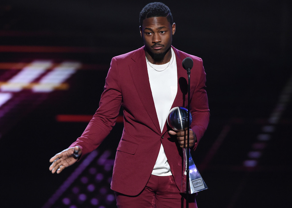 . Minnesota Vikings\' Stefon Diggs speaks about the award for best moment for the team\'s win over the New Orleans Saints in the NFC championship game, at the ESPY Awards at Microsoft Theater on Wednesday, July 18, 2018, in Los Angeles. (Photo by Phil McCarten/Invision/AP)