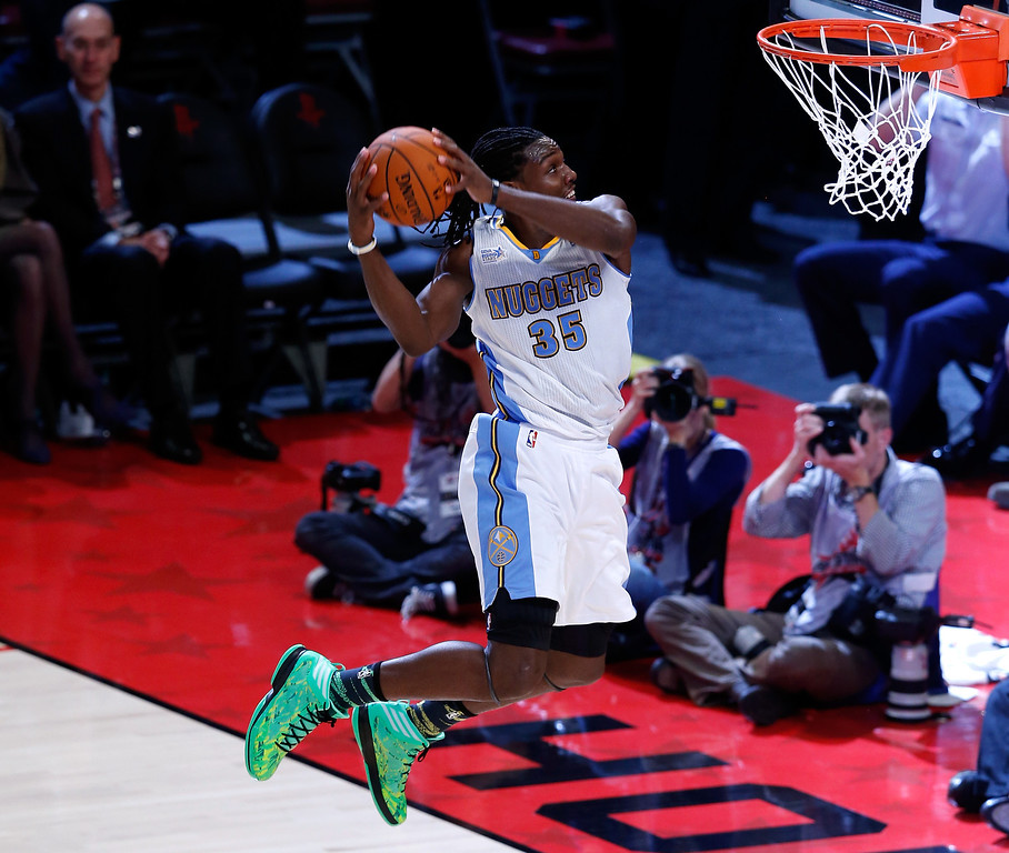 . HOUSTON, TX - FEBRUARY 15:  Kenneth Faried #35 of the Denver Nuggets and Team Chuck dunks the ball in the second half in the BBVA Rising Stars Challenge 2013 part of the 2013 NBA All-Star Weekend at the Toyota Center on February 15, 2013 in Houston, Texas.  (Photo by Scott Halleran/Getty Images)