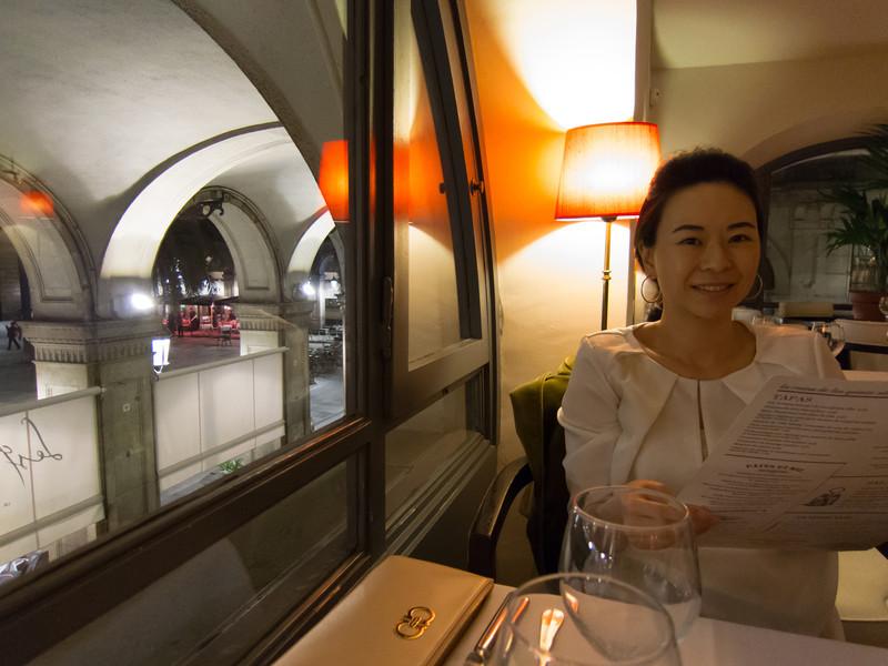 Dinner overlooking Plaça Reial in Barcelona, Spain.