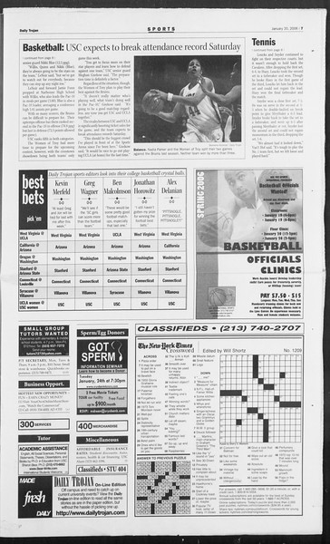 Daily Trojan, Vol. 157, No. 7, January 20, 2006