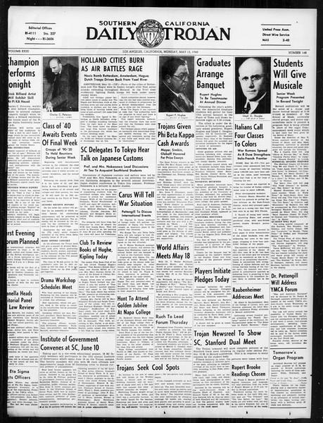 Daily Trojan, Vol. 31, No. 143, May 13, 1940