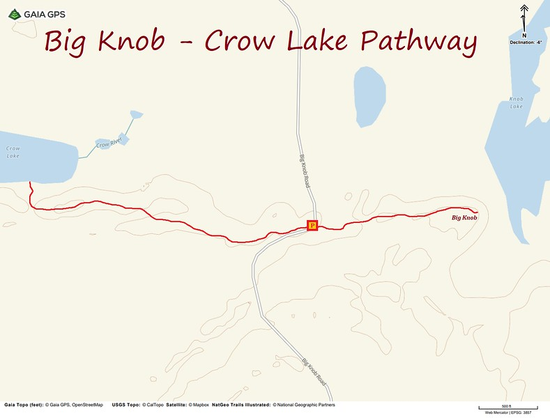 Big Knob-Crow Lake Pathway Hike Route Map