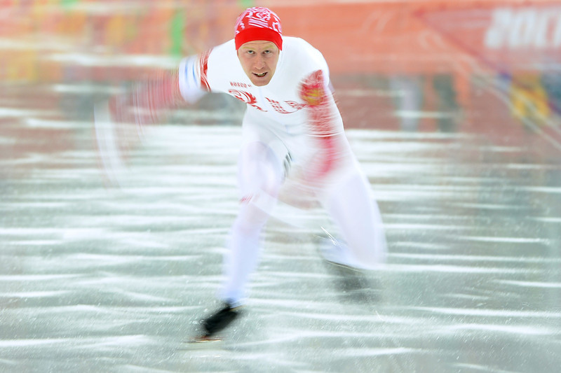 . Russia\'s Igor Bogolyubsky competes in the Men\'s Speed Skating 1000 m at the Adler Arena during the Sochi Winter Olympics on February 12, 2014.  (ANDREJ ISAKOVIC/AFP/Getty Images)