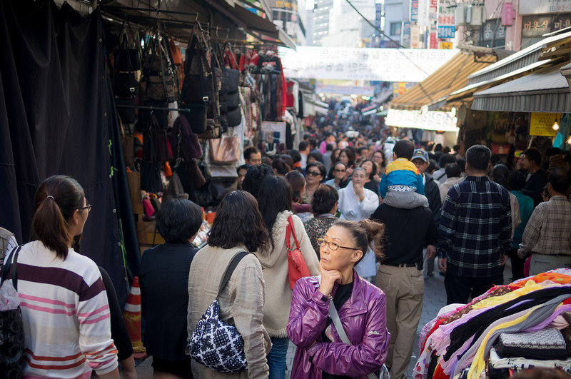 """Hmmmm, what should I buy?"" Namdaemun market."
