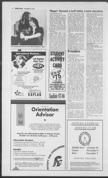Daily Trojan, Vol. 126, No. 31, October 16, 1995