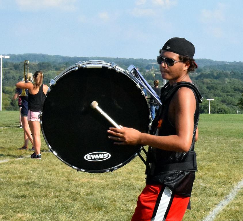 . Entering freshman, AJ Marcantuono practiced bass drum. Photo by Debby High