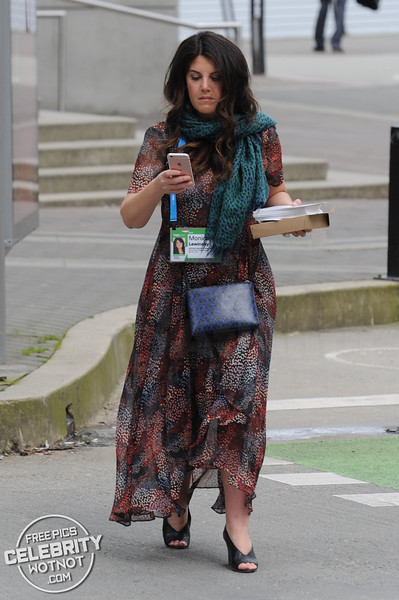 Monica Lewinsky Stylish In Spotty Dress And Turquoise Scarf, Canada