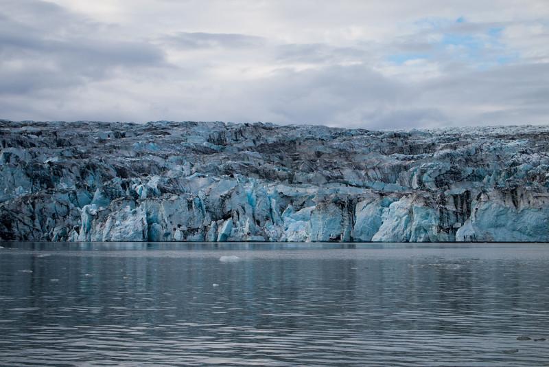 Intense blue spots in the glacier