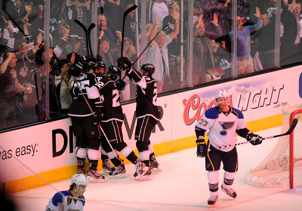 . The Kings\' celebrate Dustin Penner\'s first period goal against St. Louis Blues, Monday, May 6, 2013, at Staples Center. (Michael Owen Baker/Staff Photographer)