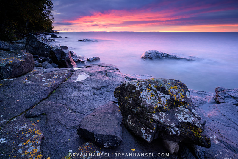 A Boulder Sits Near Lake Superior at Sunrise