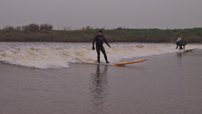 Steve riding the Severn bore.