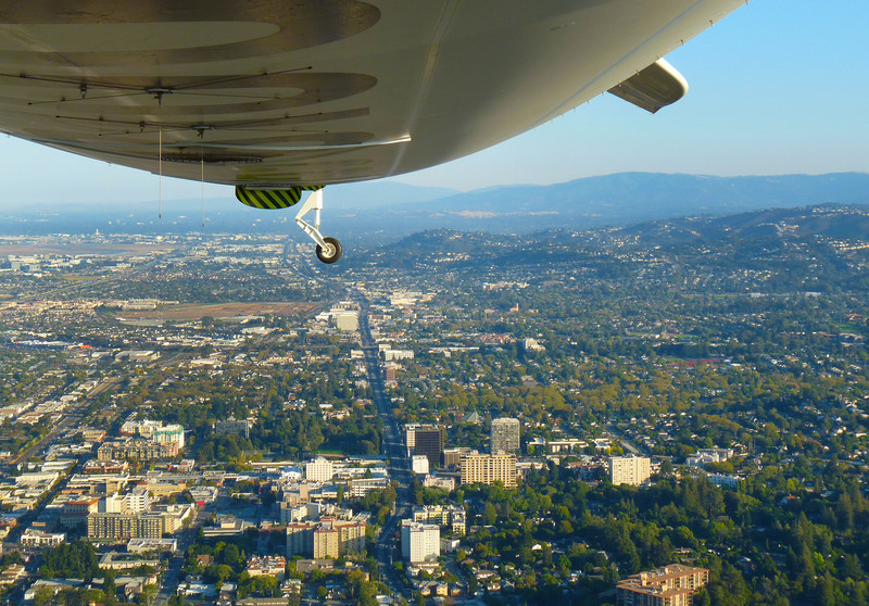 San Mateo CA above El Camino Real, downtown area left foreground.