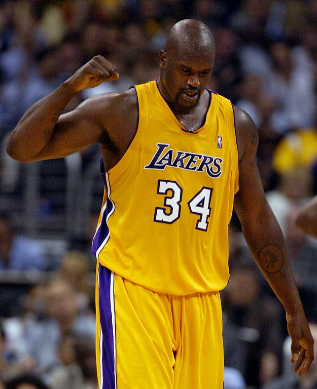 . Los Angeles Lakers\' Shaquille O\'Neal reacts to a shot in the fourth quarter of Game 3 of the NBA Western Conference Finals against the Minnesota Timberwolves, Tuesday, May 25, 2004, in Los Angeles. O\'Neal scored 22 points as the Lakers beat the Timberwolves, 100-89. (AP Photo/Chris Carlson)