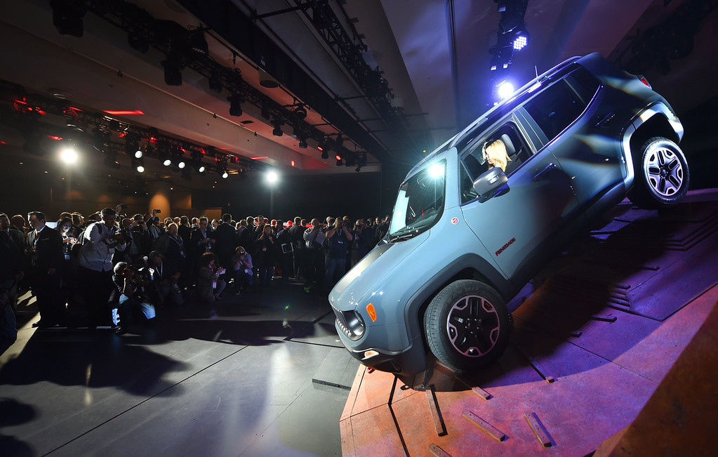 . The 2015 Jeep Renegade on  display during the first  press preview day at the 2014 New York International Auto Show  April 16, 2014  at the Jacob Javits Center in New York . AFP PHOTO / Timothy A. Clary/AFP/Getty Images