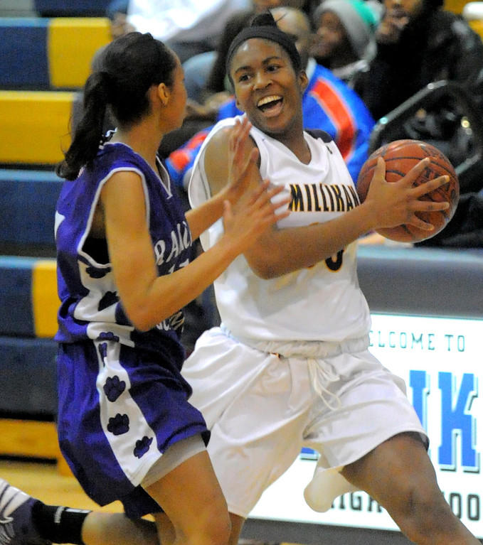 . 02-16-2012--(LANG Staff Photo by Sean Hiller)- Millikan vs. Rancho Cucamonga in Saturday night\'s  first-round CIF girls basketball game at Millikan High School in Long Beach. Rancho\'s Chelsie Baham,left, pressures Dionna Henley (00).