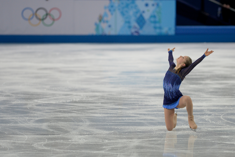 . Russia\'s Yulia Lipnitskaya dazzles the crown en route to scoring a leading 72.90 during team figure skating. Sochi 2014 Winter Olympics on Saturday, February 8, 2014. (Photo by AAron Ontiveroz/The Denver Post)