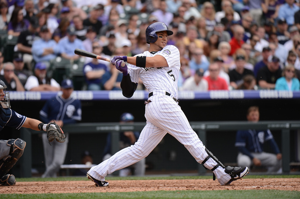 . Carlos Gonzalez (5) of the Colorado Rockies takes a swing in the fifth inning. (Photo by Hyoung Chang/The Denver Post)
