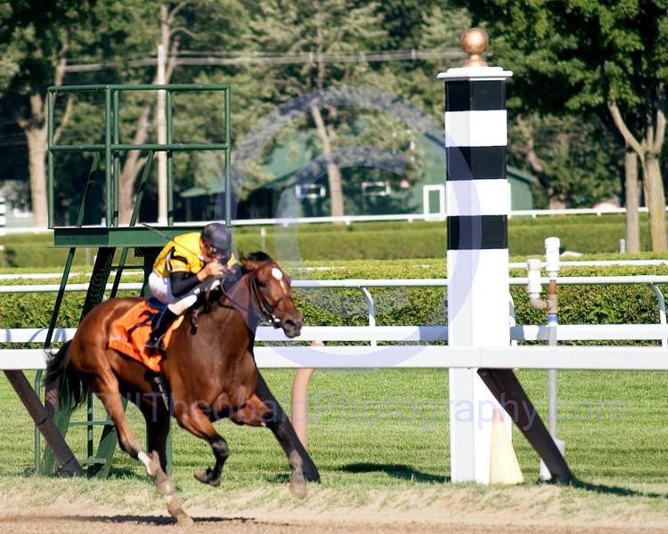 Dream Rush & Eibar Coa pass by the eight pole at Saratoga enroute to victory in the 2007 edition of the Darley Test Stakes at Saratoga.