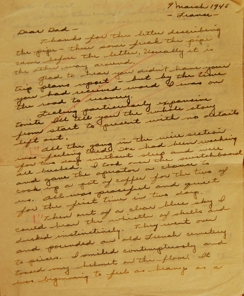 This letter is 7 pages long. Opa details the injury in which he lost sight in his right eye. Infused in the details is the wit for which he will be known. The red streaks throughout are editor's marks added when the letter was submitted for publication.