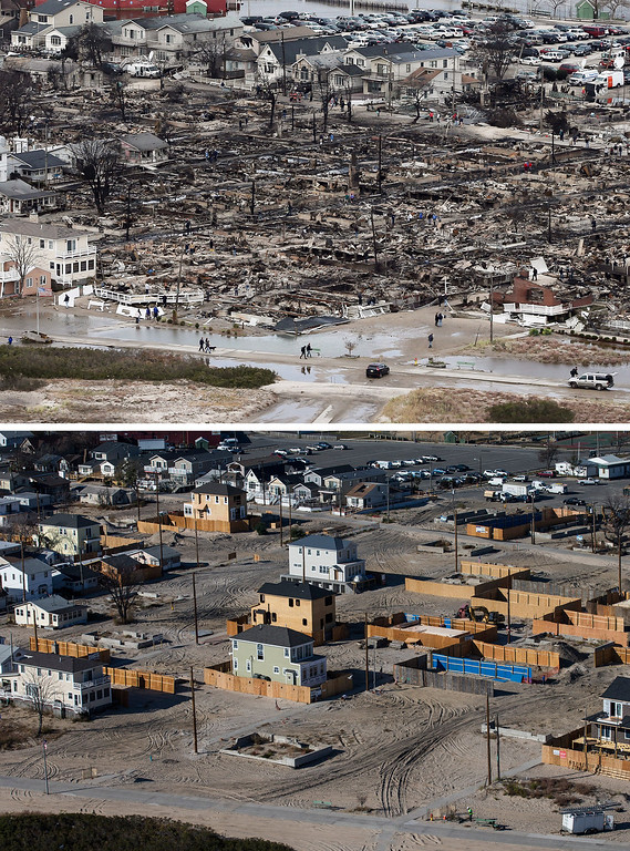 . NEW YORK, NY - OCTOBER 31: (top)  The remains of burned homes are surrounded by water due to Superstorm Sandy in the Breezy Point neighborhood of the Queens borough of New York City October 31, 2012.  (Photo by Mario Tama/ Getty Images)  NEW YORK, NY - OCTOBER 21: (bottom) Newly built homes and vacant lots are shown in the Breezy Point neighborhood of the Queens borough of New York City October 21, 2013.  Hurricane Sandy made landfall on October 29, 2012 near Brigantine, New Jersey and affected 24 states from Florida to Maine and cost the country an estimated $65 billion.   (Photo by Andrew Burton/Getty Images)