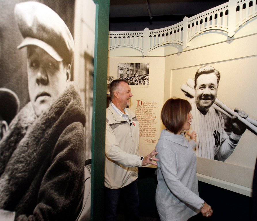 . Bert Blyleven, left, and his wife Gayle visit a Babe Ruth exhibit during his orientation visit to the Baseball Hall of Fame in Cooperstown, N.Y., on Tuesday, May 3, 2011. Blyleven, who helped pitch the 1987 Minnesota Twins to a World Series and had 287 victories in his  Major League Baseball career, was elected to the Hall of Fame in January on his 14th try.  (AP Photo/Mike Groll)