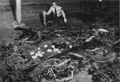 Confiscated nets and salmon by fish and game