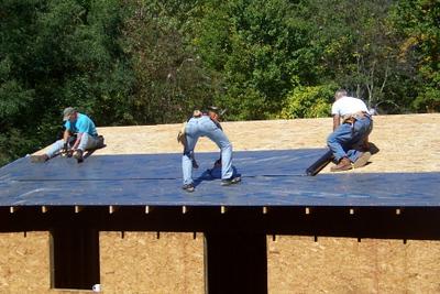 08 10-04 Konnarock, VA - Drying in the Pennington house, metal roof to follow. wb