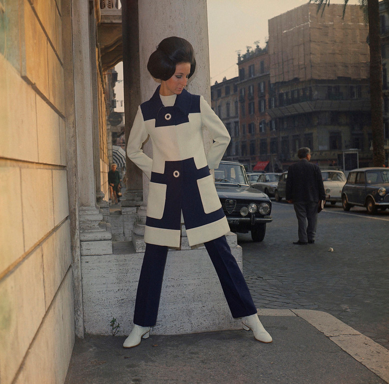 . A sports dress, consisting of a tunic and long pants of blue white wool, a creation by the Fontana Sisters? fashion house of Rome, Nov. 3, 1969, to be presented at the Florence show of Italian spring-summer in 1970 high fashion ready-to-wear boutique collections, opening on November 3. (AP Photo/Mario Torrisi)