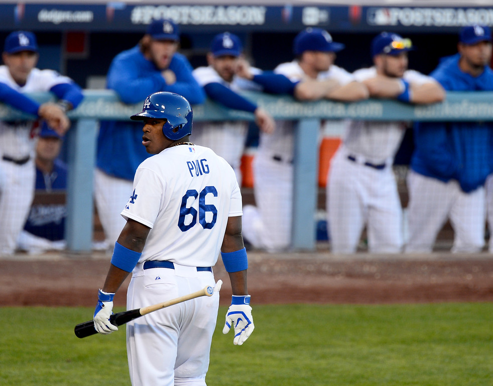 . Dodger Yasiel Puig during game 3 of the NLCS at Dodger Stadium Monday, October 14, 2013. The Dodgers beat the Cardinals 3-0. (Photo by Sarah Reingewirtz/Los Angeles Daily News)