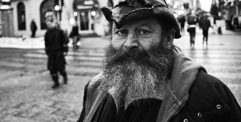 Homeless person in the city center.