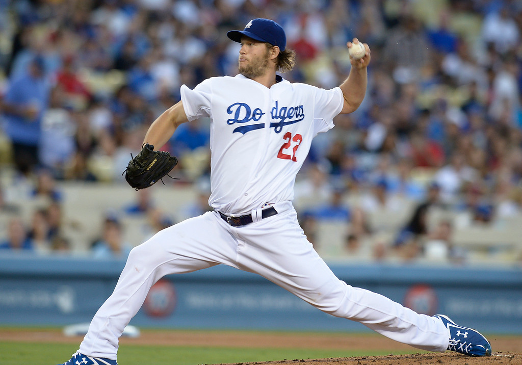. Clayton Kershaw on the mound in the 2nd inning. The Dodgers played the Angels at Dodger Stadium in Los Angeles CA. 8/5/2014(Photo by John McCoy Daily News)
