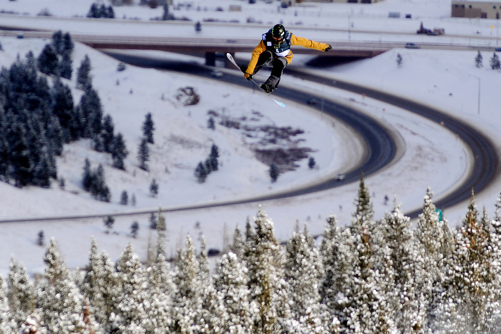 . Ryan Stassel rides during the slopestyle finals of the Copper Mountain Grand Prix.  (Photo by AAron Ontiveroz/The Denver Post)